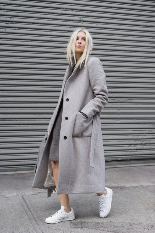 Модное осеннее пальто 2021 серое пальто фото2