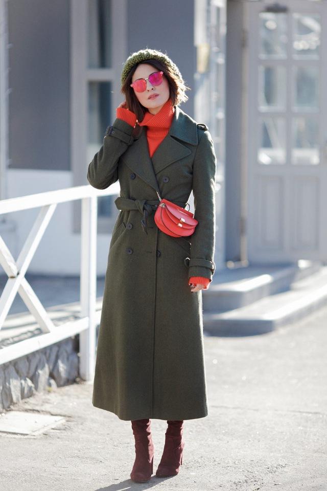 Модное осеннее пальто 2021 зеленое пальто